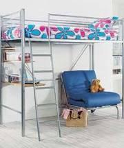 Metal Loft Bed w/Built-in Desk,  Shelves & Sgl Futon-10th Anniv Fund
